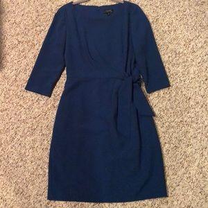 Tahari ASL blue dress with cinched tie waist